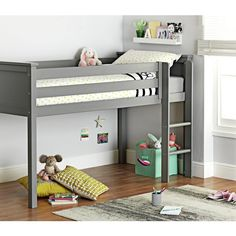 Buy Argos Home Brooklyn Mid Sleeper Bed Frame - Grey at Argos. Thousands of products for same day delivery £3.95, or fast store collection. Brooklyn, Kids Mattress, Mid Sleeper Bed, Wooden Slats, Grey Bedding, Dust Mites, Home Entertainment, Boy Room, 6 Years