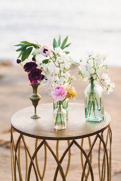 Beachy Wedding Flowers. Bohemian Wedding Flowers. Bud Vases Wedding. Sunset Cliffs — The Dainty Lion