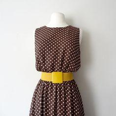 vintage brown and white polka dot midi day dress by racksabbath, $40.00 #vintage #dress #fashion