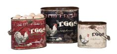 Set of Rooster Tin Buckets Kitchen Decor | eBay