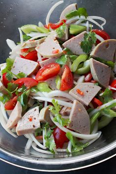 Spicy Salad of Boiled Pork Sausage (ยำหมูยอ) - SheSimmers