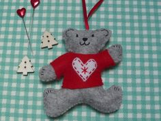 Teddy Christmas Tree Decoration - Loveheart Jumper £5.00