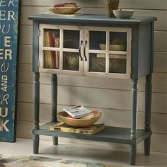 There are those pieces of furniture that are crucial to your room's seating and style, and then there are those charming little accent pieces whose main job is to provide a delightful break in the action. A curio cabinet or entryway table in a soothing shade of blue is just such a piece. Every home should have one. Where will you put yours?