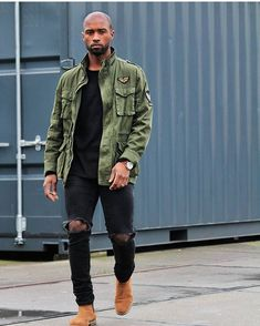 """""""You don't get what you wish for, you get what you work for"""" 🌟🌟. Big Men Fashion, African Men Fashion, Dope Fashion, Military Fashion, Edgy Mens Fashion, Militar Jacket, Bomber Jacket Men, Mode Masculine, Mens Casual Suits"""