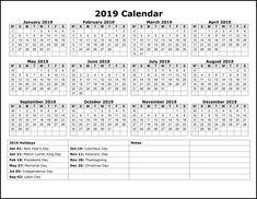 2019 Holiday Calendar Usa Calendar2019 Printablecalendar