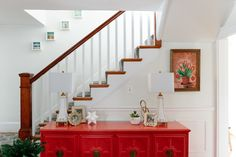 This credenza was a Craigslist find that the couple refinished in a bold red.