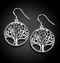 Earrings 925 Sterling Silver Womens Tree Of Life Hook Dangle Jewelry Hippie #Unbranded #DropDangle