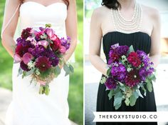 Photography by Samantha McGranahan, The ROXY Studio. Wedding photography, wedding photos, bridal party, black bridesmaids dress, bridesmaid jewelry, bridesmaid bouquet, wedding veil, mermaid wedding dress, bridal bouquet, purple wedding, red wedding, wedding details, wedding poses