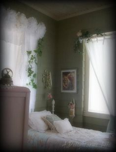 *The Brambleberry Cottage* - (love the inspiration - sage walls, lots of white lacy airy light, pink roses and ivy garland twine - i have been planning to paint the walls in my shabby chic bedroom sage, nice to see this ~TA)