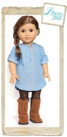 "Liberty Jane Coronado Shirtdress PDF Pattern Designed to fit 18"" American Girl Dolls | Doll Clothes Patern | Pixie Faire"