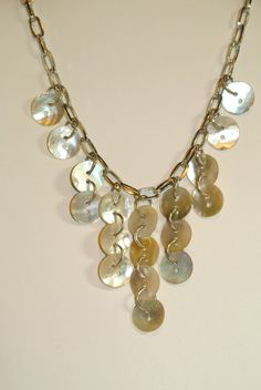 Antique Abalone Button Necklace by sarahracha on Etsy, $30.00