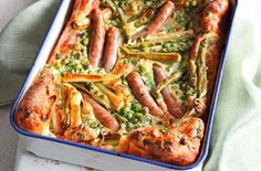 Toad in the hole is a classic family supper & our summery spin is packed with seasonal veg. Find more dinner ideas & summer recipes at Tesco Real Food. How To Make Yorkshire Pudding, Yorkshire Pudding Recipes, Easy Cooking, Cooking Recipes, Healthy Recipes, Healthy Food, Yummy Food, Healthy Dinners, Healthy Desserts