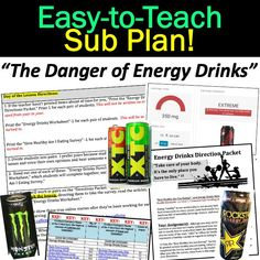 Energy Drink Dangers Sub Plans for Grades Health And Physical Education, Education Today, Teaching Science, Life Science, Teaching Music, High School Health, Websites For Students, Teacher Must Haves, Teacher Resources
