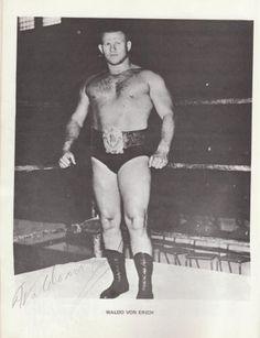 Waldo Von Erich Autographed page from Tri-State Wrestling Program: Circa-1968, $250
