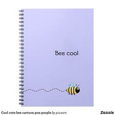 Cool cute bee cartoon pun purple spiral notebook