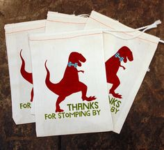 Dinosaur Birthday Party Favor Bags - White Muslin 5x7 / Thanks for Stomping By / Kids Candy Bag / Toddler Dino Party / Thank You Gift Supply by ScrapendipityBags on Etsy