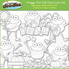 Froggy Fun Fall Days Line Art Download