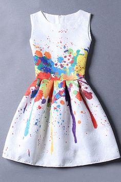 Sleeveless Jacquard White Dress