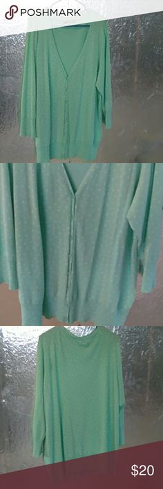 Maurices Cardigan Mint sweater with white dots all over, long sleeves. NWOT Maurices Sweaters Cardigans