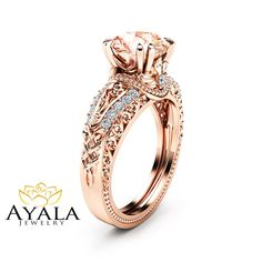 Morganite Vintage Engagement Ring 14K Rose Gold Morganite Ring Rose Gold Vintage Engagement Ring by AyalaDiamonds on Etsy https://www.etsy.com/listing/292070183/morganite-vintage-engagement-ring-14k