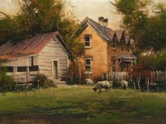 "BRUCE CHEEVER SCIPIO SHEEP oil on board 9 x 12 in (22.86h x 30.48w cm) $2,800   I first painted this old place 25 years ago, and I make a pilgrimage back about once a year for new inspiration.  I love places that seem to be frozen in time.  ""Scipio Sheep"" is what I call one of my peaceful paintings.  Even though it is smaller, it still has solid composition and romantic color.  Bruce Cheever, 2015  www.trailsidegalleries.com"