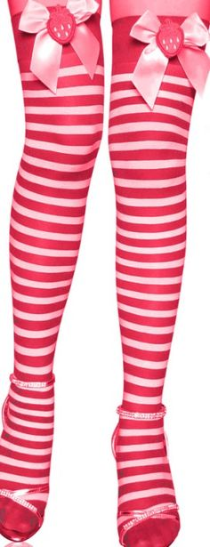 Red-White Stripe Thigh Highs Sexy Xmas Stockings