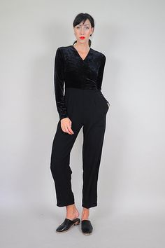 Black Velvet Minimalist Jumpsuit by NOIROHIOVINTAGE on Etsy