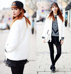 Like Life Sweater, Sheinside Skirt, Esprit Clutch, Nike Sneakers, Iwearsin Leggings, French Rdv Hat, Diy :) Jacket, Rapunzel Of Sweden Fake Bangs