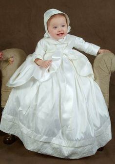 Baby\'s Christening Gowns with Bow in Charmeuse