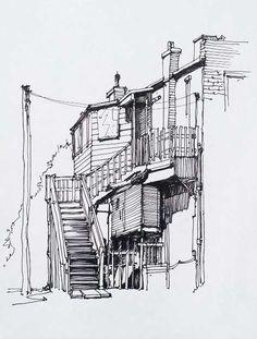 arquitectonico Toronto Urban Sketchers : Meet the Correspondents : Marek Badzynski Cityscape Drawing, City Drawing, Building Drawing, Building Sketch, Landscape Sketch, Landscape Drawings, Urban Sketchers, Architecture Drawing Sketchbooks, Perspective Drawing