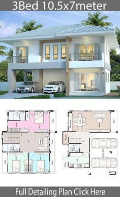 House design plan with 3 bedrooms – Home Design with Plansearch Haus Design Plan mit 3 Schlafzimmern – Home Design with Plansearch Model House Plan, House Layout Plans, Duplex House Plans, Bedroom House Plans, Dream House Plans, House Layouts, 4 Bedroom House Designs, 2 Storey House Design, Duplex House Design