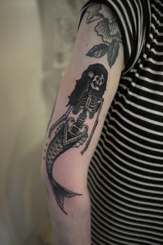 Mermaid Skeleton tattoo by James Armstrong To see more of James' work follow him on instagram: james_armstrong_tattoo