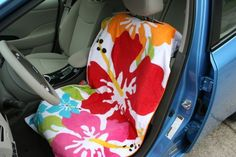 love this idea for after the beach or just keeping the kids seats clean .. just throw them in the wash. So clever!