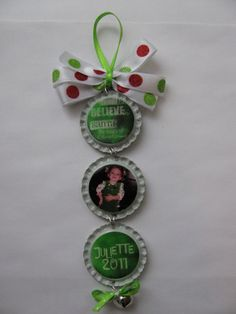 """Idea: Follow this pattern, but create a baby's first Christmas ornament.  How?  Top cap reads: """"Baby's First Christmas"""".  Middle cap: holds a photo.  Bottom Cap: the year.  Simple & Cute!"""