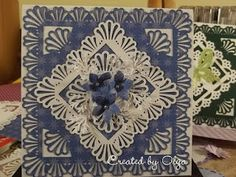 5 X 5 card with Martha Stewart's Deco Shell punch around the page punch. So gorgeous!