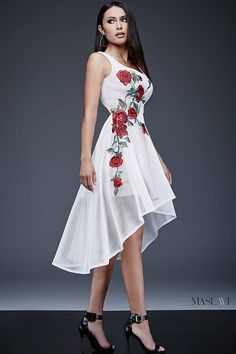 Ivory/Multi Fit and Flare Contemporary Dress M436 by Maslavi