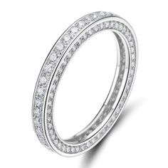935c1be54 Amazon.com: SOMEN TUNGSTEN 925 Sterling Silver Rings Cubic Zirconia  Eternity Engagement Wedding Band Width 3MM Size 4-10: Jewelry