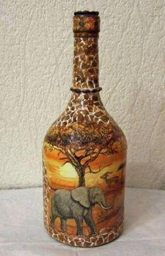 Botella con motivos africanos
