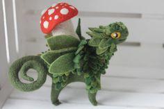 Mushroom beast, the needle felted creature, fantasy fairy beast figurine