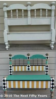 Before and After - Headboard Bench This one is done with a wooden seat, but could easily be done with a cushioned seat. I would use different colors tho! Repurposed Furniture, Funky Furniture, Furniture Makeover, Painted Furniture, Outdoor Furniture, Outdoor Decor, Outdoor Crafts, Furniture Ideas, Headboard Benches