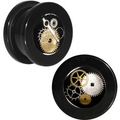 00 Gauge Handmade Black Acrylic Steampunk Pocket Watch Screw Fit Plug... ❤ liked on Polyvore featuring jewelry, earrings, steampunk jewelry, lucite earrings, pocket watches, steampunk jewellery and lucite jewelry