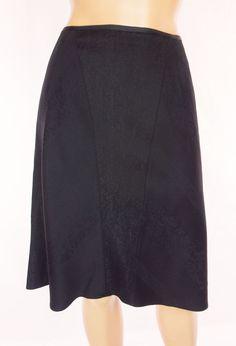 ELIE TAHARI Skirt Size 6 S Black Floral Jacquard A-Line Wool Work #ElieTahari #ALine