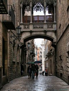 Rainy Day, Gothic Quarter, Barcelona, Spain
