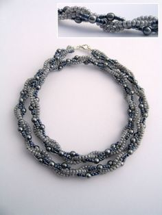 Bead weaving necklace - HEAVY translation needed but decent diagrams and very different. #seed #bead #tutorial #necklace