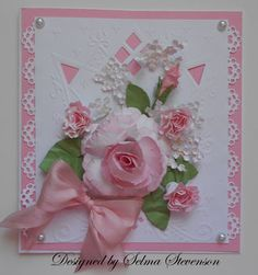 Gorgeous pink rose made with spun sugar distress ink and pretty white baby's breath