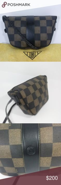FENDI Vintage Roma Checkered Print Crossbody Bag FENDI Roma Italy 1925  S.A.S Checkered Print Crossbody Bag 76b9346a40966