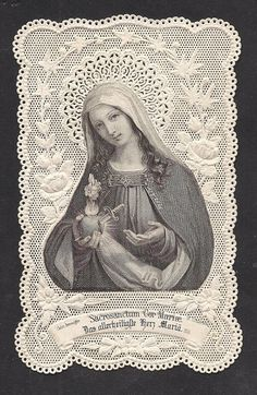 Most Sacred Heart of Mary Catholic Art, Catholic Saints, Religious Art, Blessed Mother Mary, Divine Mother, Sacred Heart Tattoos, Jesus E Maria, Vintage Holy Cards, Alchemy Art