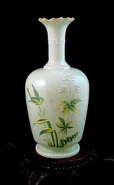 Antique Bohemian Victorian Harrach Enamel Queen Annes Lace & Bird Art Glass Vase #Victorian #Harrach