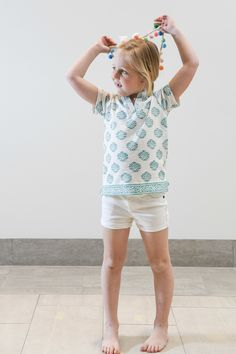 The Kylie Tee Shirt in White and Teal Hand Block For Girls - Liza Byrd Boutique