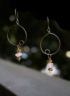 Rose Quartz & Crystal Beaded Gold Filled Wire Earrings